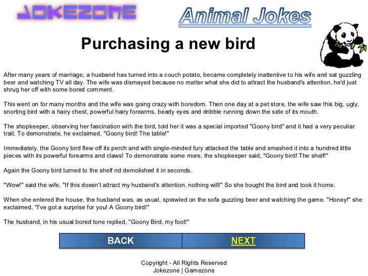 Copyright - All Rights Reserved Jokezone | Gamezone Purchasing a new bird After many years of marriage, a husband has turn...