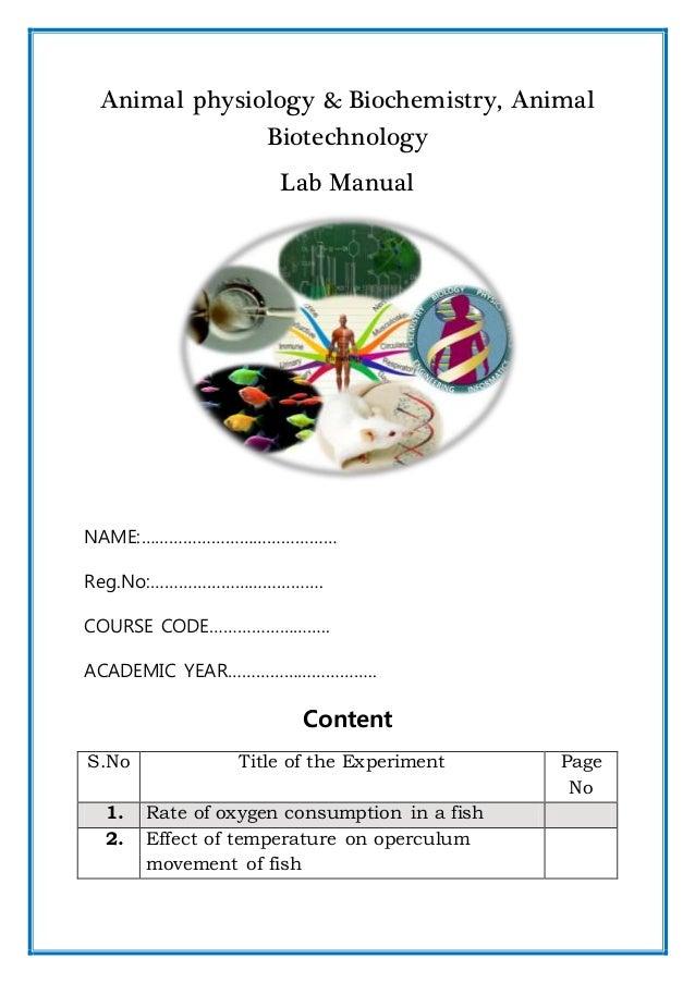 Animal physiology and biochemistry lab manual