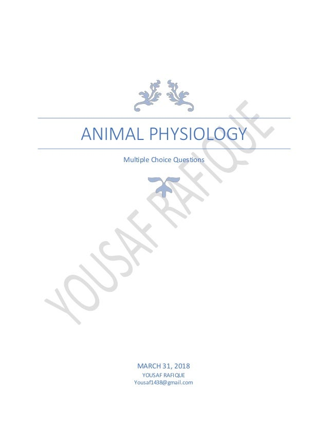 Multiple Choice Questions of Animal physiology