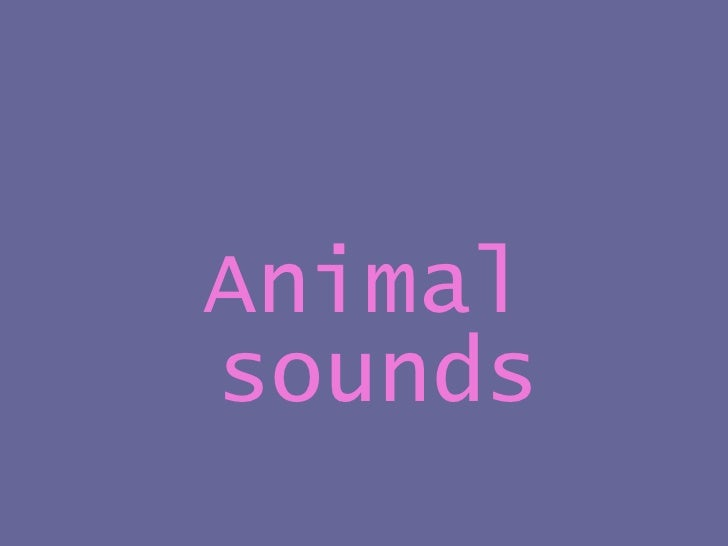 <ul><li>Animal sounds </li></ul>