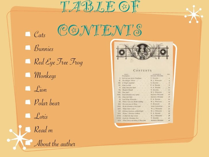 TABLE OFCats   CONTENTSBunniesRed Eye Tree FrogMonkeysLionPolar bearLorisRead mAbout the auther