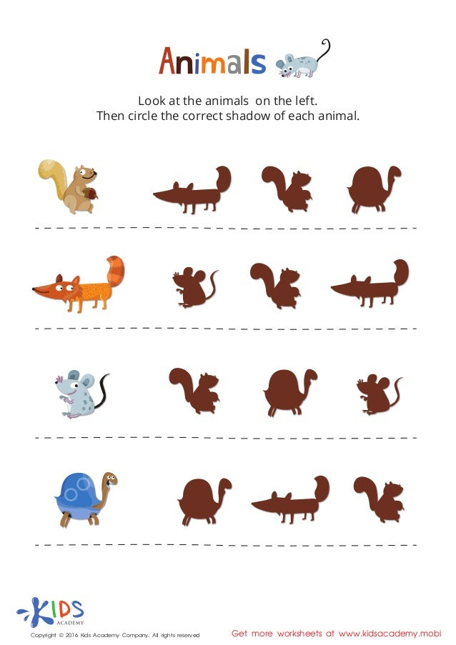 Learning animals for kids - Printable PDF worksheet