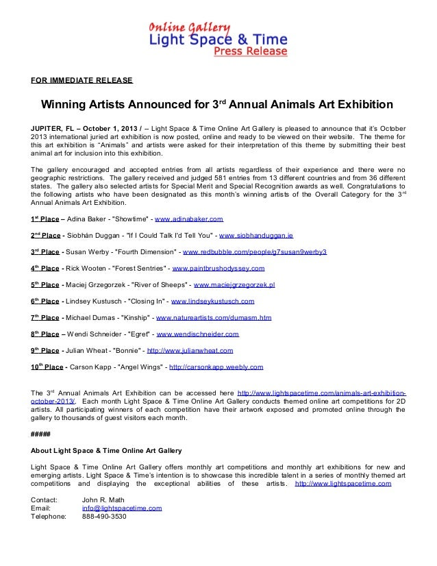 FOR IMMEDIATE RELEASE Winning Artists Announced for 3rd Annual Animals Art Exhibition JUPITER, FL – October 1, 2013 / -- L...
