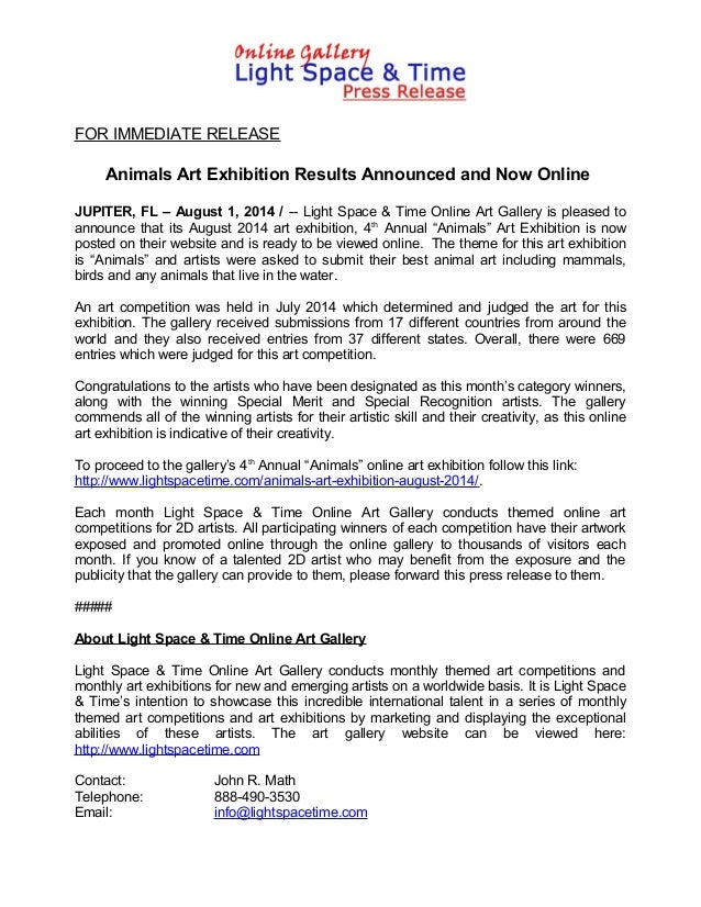 FOR IMMEDIATE RELEASE Animals Art Exhibition Results Announced and Now Online JUPITER, FL – August 1, 2014 / -- Light Spac...