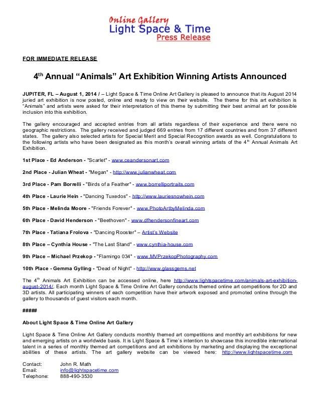 "FOR IMMEDIATE RELEASE 4th Annual ""Animals"" Art Exhibition Winning Artists Announced JUPITER, FL – August 1, 2014 / -- Ligh..."