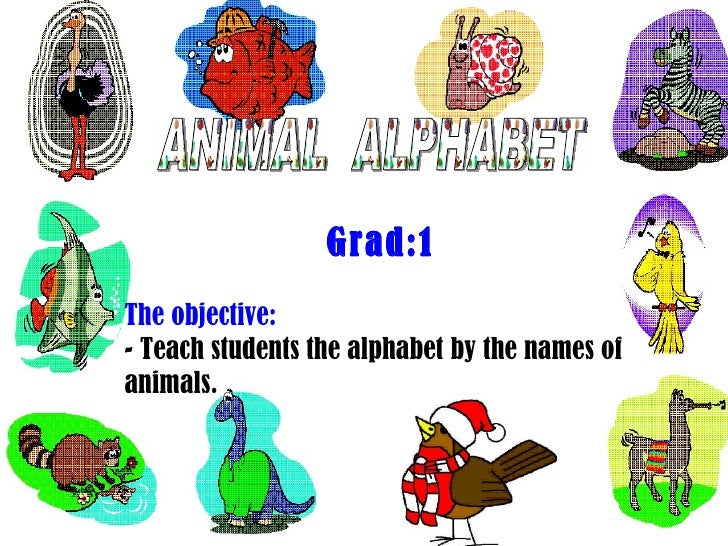 ANIMAL  ALPHABET Grad:1 The objective: - Teach students the alphabet by the names of animals.