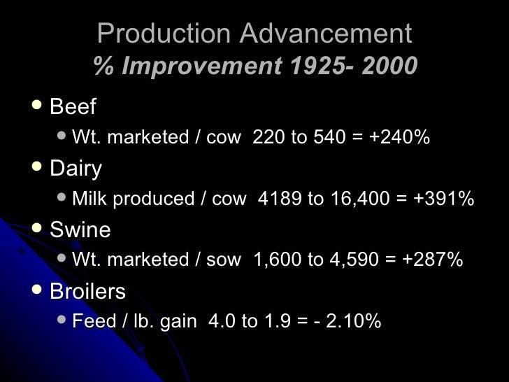 Production Advancement % Improvement 1925- 2000 <ul><li>Beef </li></ul><ul><ul><li>Wt. marketed / cow  220 to 540 = +240% ...