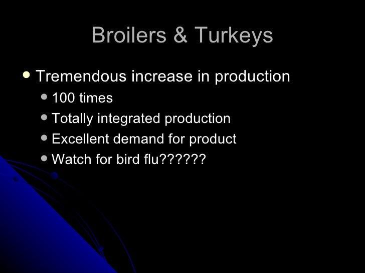 Broilers & Turkeys <ul><li>Tremendous increase in production </li></ul><ul><ul><li>100 times </li></ul></ul><ul><ul><li>To...