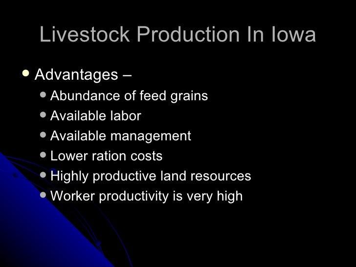 Livestock Production In Iowa <ul><li>Advantages – </li></ul><ul><ul><li>Abundance of feed grains </li></ul></ul><ul><ul><l...