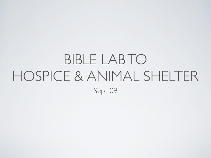 BIBLE LAB TO HOSPICE & ANIMAL SHELTER           Sept 09