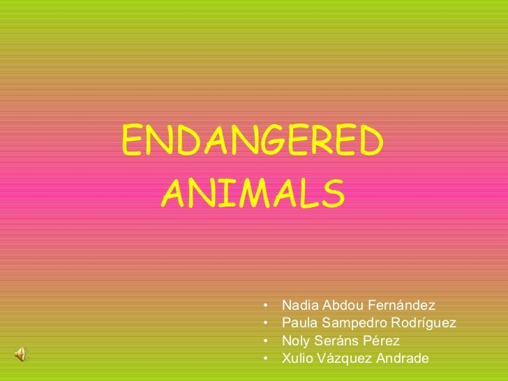 ENDANGERED ANIMALS <ul><li>Nadia Abdou Fernández </li></ul><ul><li>Paula Sampedro Rodríguez </li></ul><ul><li>Noly Seráns ...