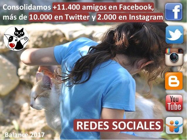 REDES SOCIALES Balance 2017 Consolidamos +11.400 amigos en Facebook, más de 10.000 en Twitter y 2.000 en Instagram
