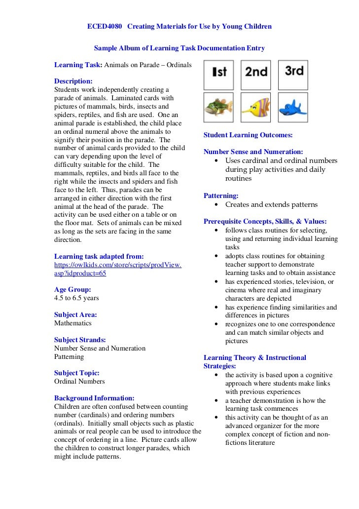 ECED4080 Creating Materials for Use by Young Children              Sample Album of Learning Task Documentation EntryLearni...