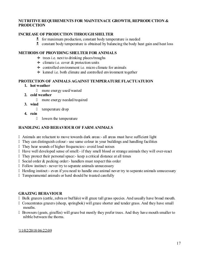 Grade 12 Agricultural Science Notes Animal Nutrition
