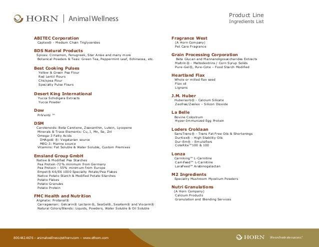 800.442.4676 • animalwellness@ethorn.com • www.ethorn.com We orchestrate success.TM AnimalWellness Product Line Ingredient...