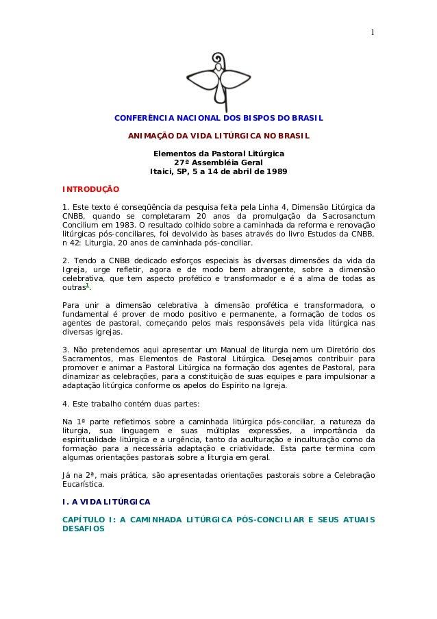 1 CONFERÊNCIA NACIONAL DOS BISPOS DO BRASIL ANIMAÇÃO DA VIDA LITÚRGICA NO BRASIL Elementos da Pastoral Litúrgica 27ª Assem...