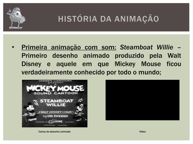 HISTÓRIA DA ANIMAÇÃO• Primeira animação com som: Steamboat Willie –Primeiro desenho animado produzido pela WaltDisney e aq...