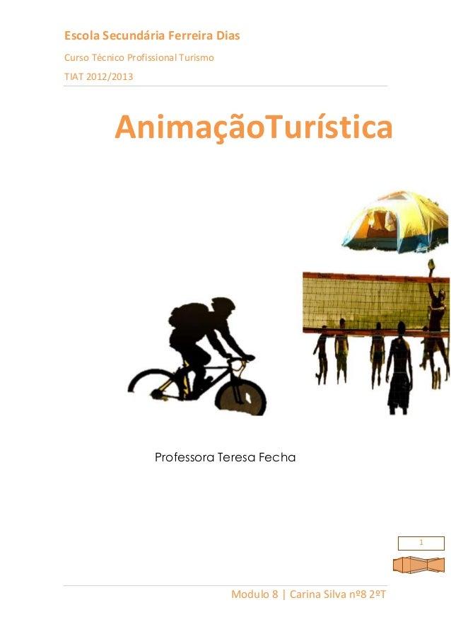 Escola Secundária Ferreira DiasCurso Técnico Profissional TurismoTIAT 2012/2013Modulo 8 | Carina Silva nº8 2ºT1Professora ...