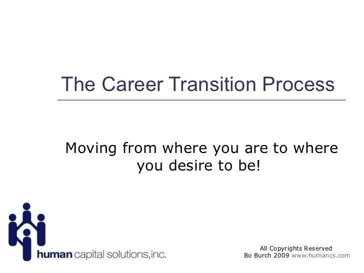The Career Transition Process Moving from where you are to where you desire to be!