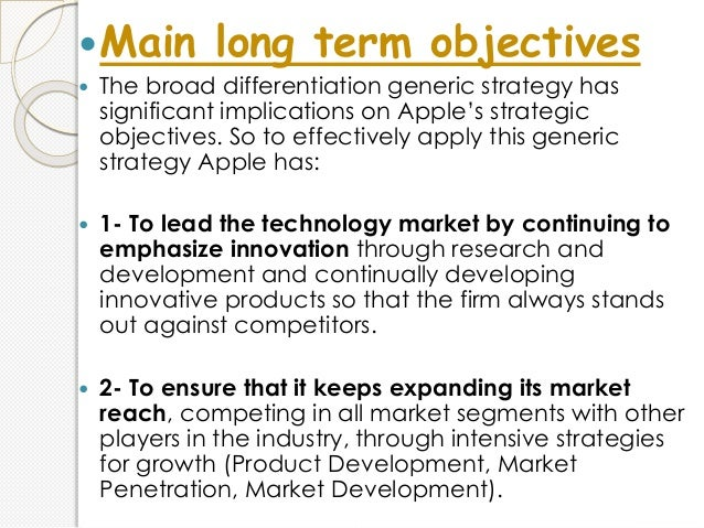 long term objective and short term objective of apple company