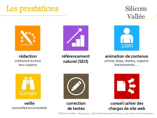 Silicom Vallée ©SilicomVallée – 06/01/2015 – Mensuelle Business Poussins, chez Akyos Communication conseil cahier des char...