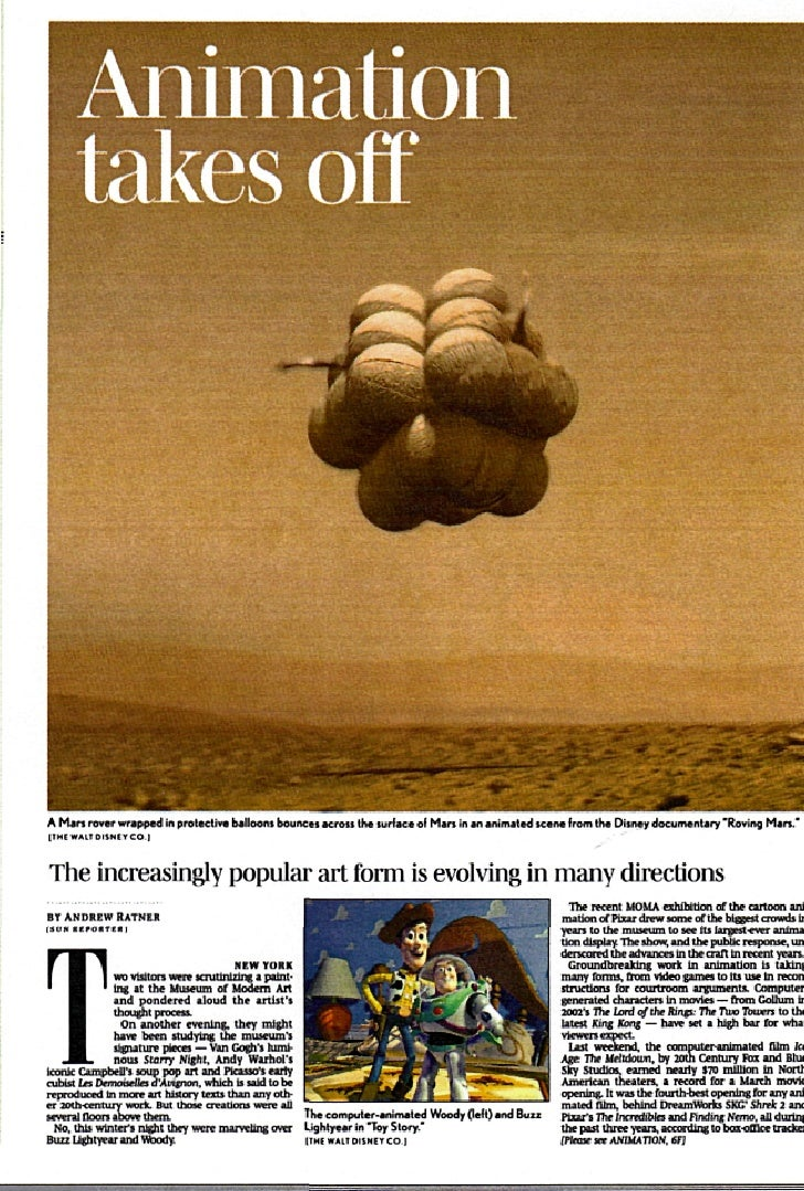 Animation        takes off     A Man rover wrapped tn protective balloons bouncti across Ihe surface ol Man in an animated...