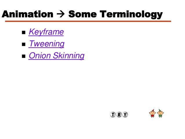 Animation  Some Terminology Keyframe Tweening Onion Skinning