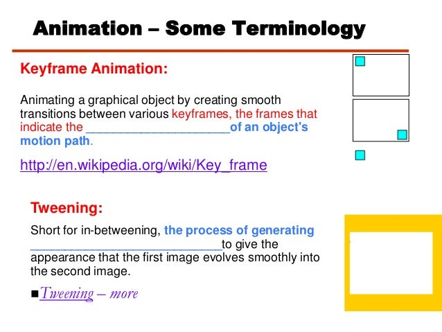 Animation – Some TerminologyKeyframe Animation:Animating a graphical object by creating smoothtransitions between various ...