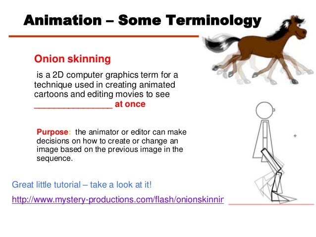 Onion skinningis a 2D computer graphics term for atechnique used in creating animatedcartoons and editing movies to see___...