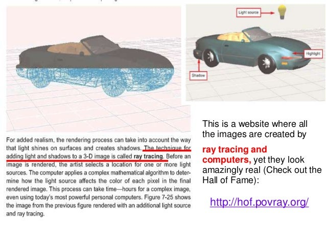 http://hof.povray.org/This is a website where allthe images are created byray tracing andcomputers, yet they lookamazingly...