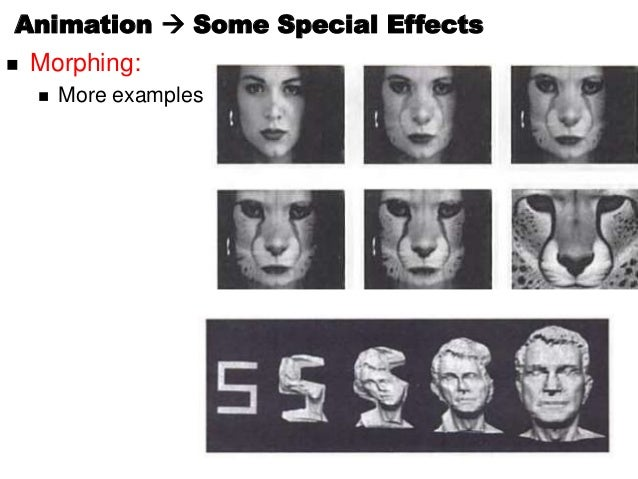  Morphing: More examplesAnimation  Some Special Effects
