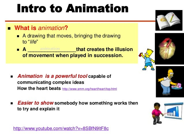 """Intro to Animation What is animation? A drawing that moves, bringing the drawingto """"life"""" A _________________that creat..."""