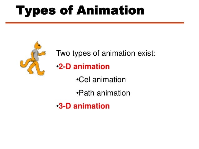 Types of AnimationTwo types of animation exist:•2-D animation•Cel animation•Path animation•3-D animation