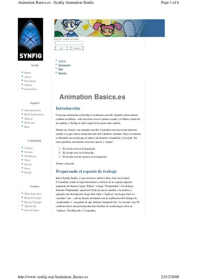 Animation Basics.es Article Discussion Edit History Log in / create account  Introducción Crear una animación en Synfig e...
