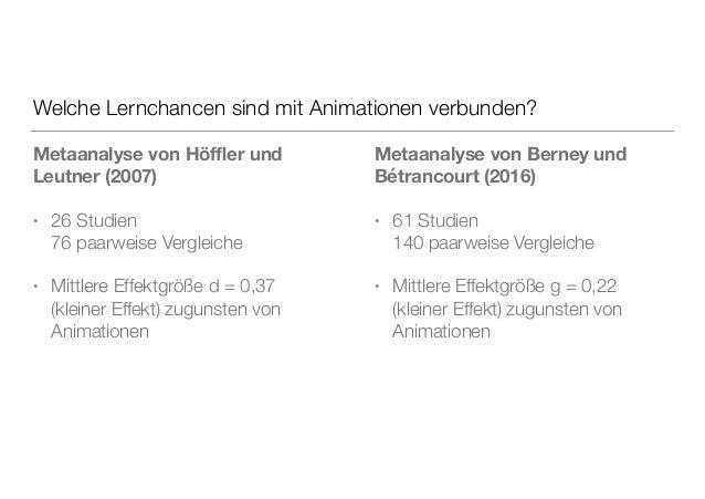 Welche Lernchancen sind mit Animationen verbunden? Metaanalyse von Höffler und Leutner (2007) • 26 Studien 76 paarweise Ver...