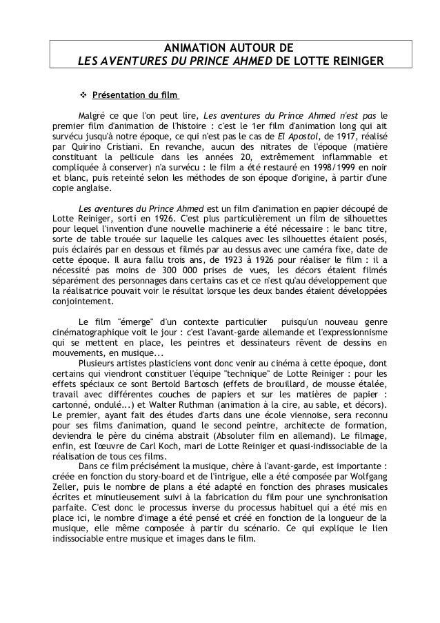 ANIMATION AUTOUR DE LES AVENTURES DU PRINCE AHMED DE LOTTE REINIGER  Présentation du film Malgré ce que l'on peut lire, L...