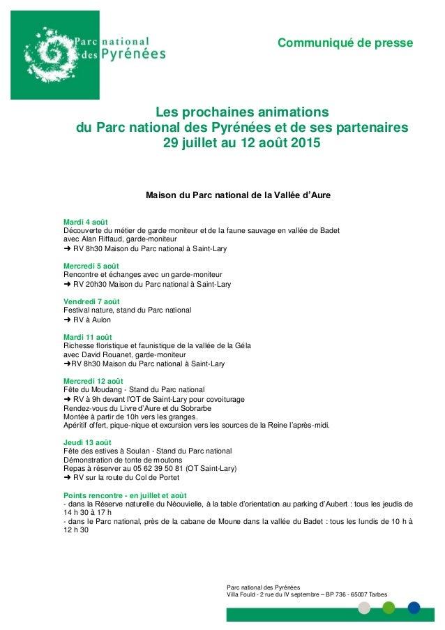 Communiqué de presse Communiqué de presse Parc national des Pyrénées Villa Fould - 2 rue du IV septembre – BP 736 - 65007 ...