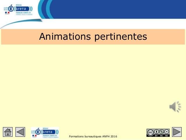 Formations bureautiques ANFH 2016 Animations pertinentes