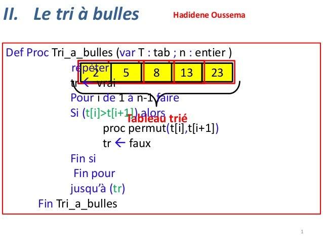 II. Le tri à bulles  Hadidene Oussema  Def Proc Tri_a_bulles (var T : tab ; n : entier ) répéter 23 13 23 23 23 13 23 13 2...