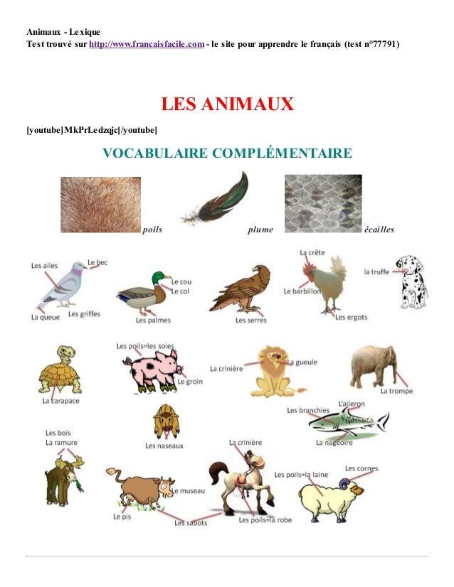 4/28/2015 Animaux- Lexique http://www.francaisfacile.com/cgi2/myexam/print.php?monsite=ff 1/5 Animaux - Lexique Test trouv...