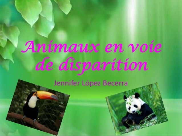 Animaux en voie de disparition Jennifer López Becerra