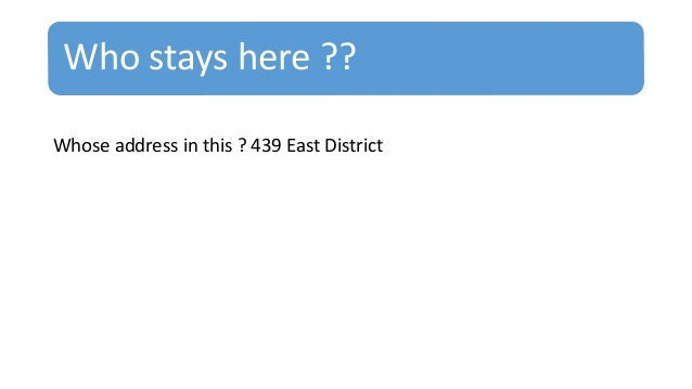Who stays here ?? Whose address in this ? 439 East District