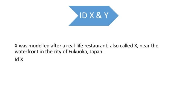 ID X & Y X was modelled after a real-life restaurant, also called X, near the waterfront in the city of Fukuoka, Japan. Id...