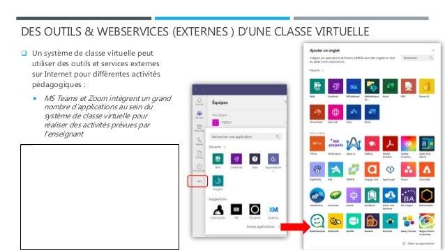 DES OUTILS & WEBSERVICES (EXTERNES ) D'UNE CLASSE VIRTUELLE  Un système de classe virtuelle peut utiliser des outils et s...