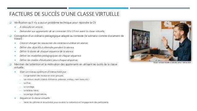 FACTEURS DE SUCCÈS D'UNE CLASSE VIRTUELLE  Vérification qu'il n'y a aucun problème technique pour rejoindre la CV  A rés...