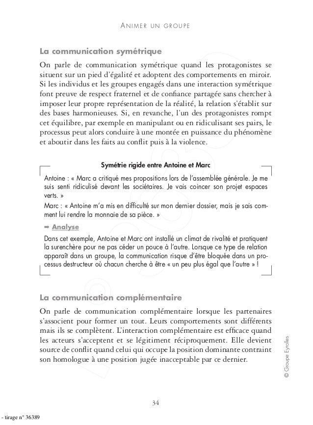 AN I M E R U N G R O U P E 34 ©GroupeEyrolles La communication symétrique On parle de communication symétrique quand les p...