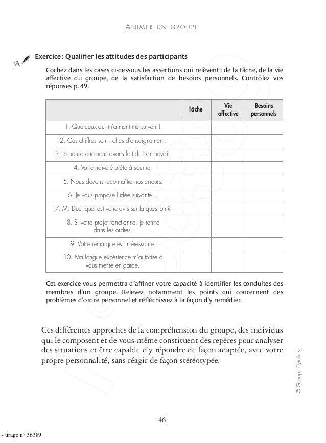 AN I M E R U N G R O U P E 46 ©GroupeEyrolles Cochez dans les cases ci-dessous les assertions qui relèvent : de la tâche, ...