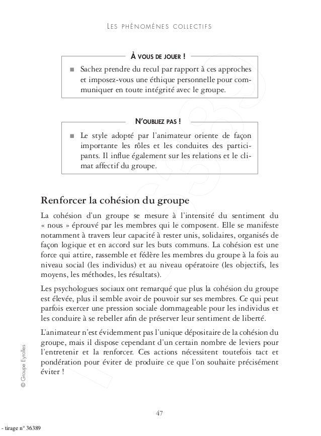©GroupeEyrolles 47 LE S P H É N O M È N E S C O L L E C T I F S Renforcer la cohésion du groupe La cohésion d'un groupe se...