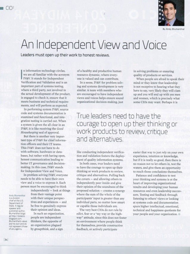 An Indendent View and Voice - Andy Blumenthal