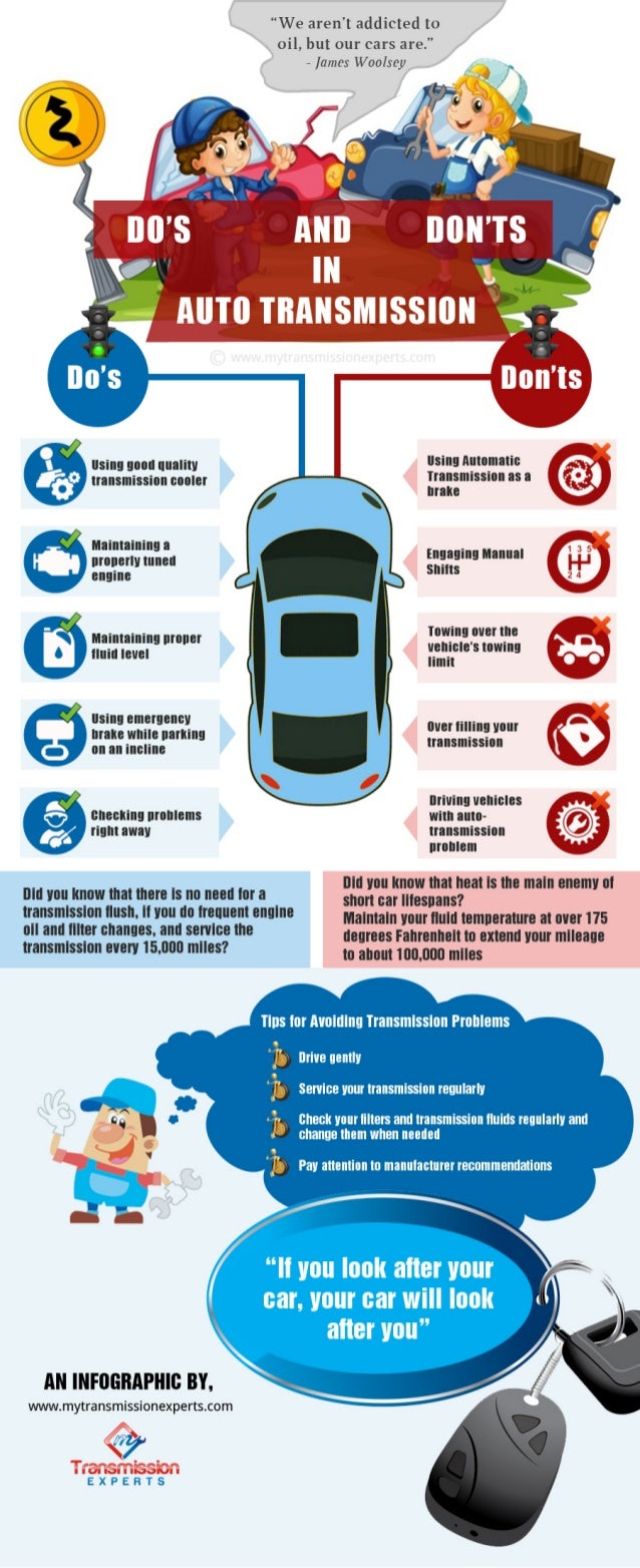 "An infographic on ""DO's and Don'ts in Auto Transmission"""
